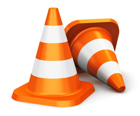 Group of orange traffic cones isolated on white background photo