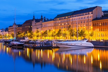Scenic summer evening view of the Old Town pier with sailing yachts and ships in Helsinki, Finland Reklamní fotografie