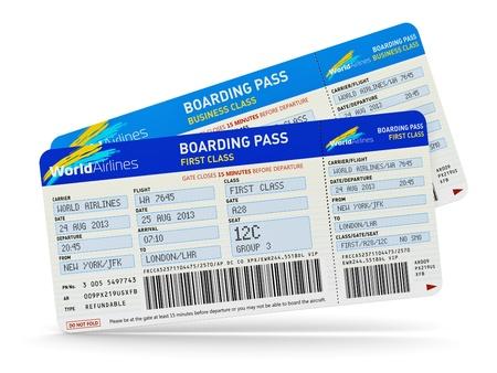 by passes: grupo de billetes de avi�n de color de primera y los viajes de negocios de clase turista aislado en fondo blanco Foto de archivo