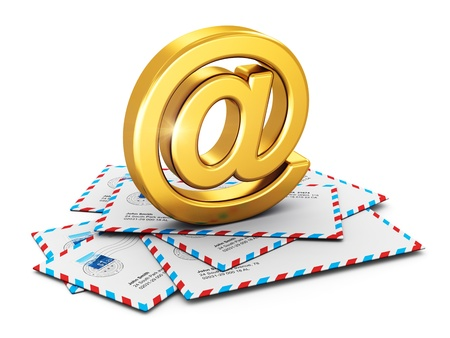 metal golden shiny AT symbol on stack or heap of post mail airmail envelopes isolated on white background