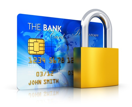 Creative abstract business banking money financial security, online shopping and corporate accounting concept  blue credit card with bronze padlock or key lock isolated on white background with reflection effect photo