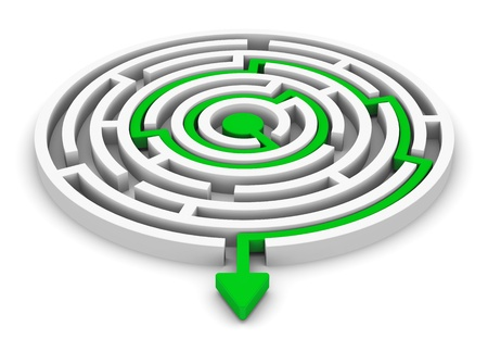 solved maze puzzle: Creative abstract business corporate success marketing strategy idea concept  solved round circle labyrinth with green path with arrow isolated on white background