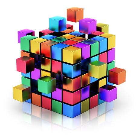 Creativo abstracto de negocios trabajo en equipo, internet y comunicación concepto estructura cúbica de metal de color con montaje de cubos metálicos aislados en fondo blanco con efecto de reflexión