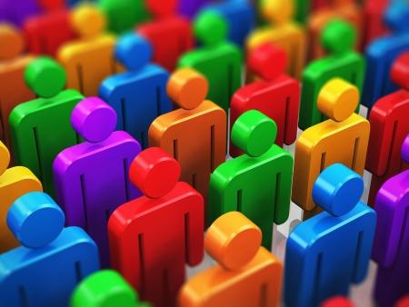 Menschen, die Gesellschaft und Social-Media-Netzwerk-Internet-Web-Kommunikationskonzept www Menge oder eine Gruppe von Farb-menschliche Figuren mit selektiven Fokus-Effekt
