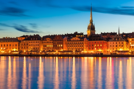 Scenic summer evening panorama of the Old Town  Gamla Stan  pier architecture in Stockholm, Sweden photo