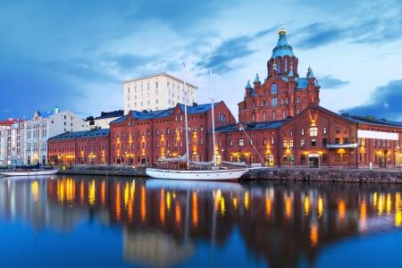 helsinki: Evening scenery of Uspenski Orthodox Cathedral Church in Katajanokka district of the Old Town in Helsinki, Finland