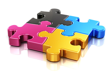 Creative color printing computer technology, typography, press and publishing abstract concept  colorful CMYK puzzle jigsaw pieces  photo