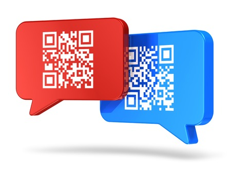 mobile communication: Creative QR code reader scanning, barcode communication technology and business online shopping retail internet concept  group of color speech bubbles or balloons with QR codes  Stock Photo
