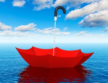 Ayuda abstracto creativo, primeros auxilios, seguro, apoyo y asistencia de negocios corporativos concepto paraguas rojo flotando en el agua de mar azul