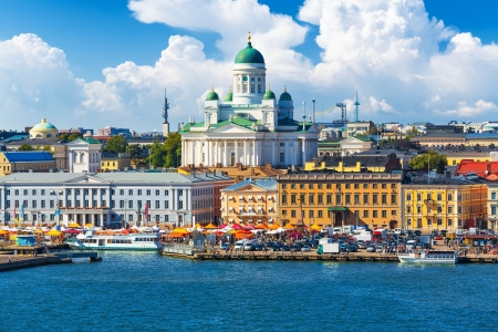 Scenic summer panorama of the Market Square (Kauppatori) at the Old Town pier in Helsinki, Finland Stock Photo