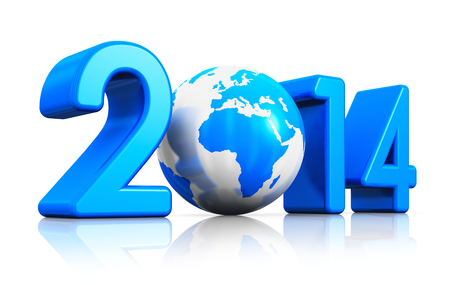 Creative New Year 2014 beginning celebration concept with blue glossy Earth globe isolated on white with reflection effect photo