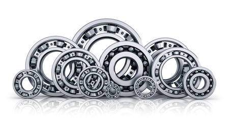 chock: Collection of different steel shiny ball bearings isolated on white with reflection effect Stock Photo