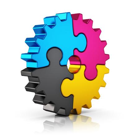 imprenta: La tecnología informática la impresión en color creativo, tipografía, prensa y ediciones concepto abstracto CMYK colorido rompecabezas rompecabezas de engranajes aislados en blanco con efecto de reflexión