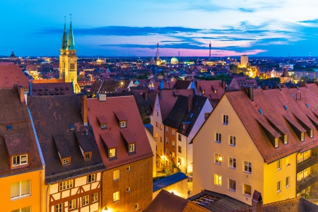 nuremberg: Scenic summer evening panorama of the Old Town architecture in Nuremberg, Germany