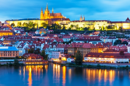 vitus: Scenic summer evening panorama of the Old Town architecture with Vltava river and St Vitus Cathedral in Prague, Czech Republic