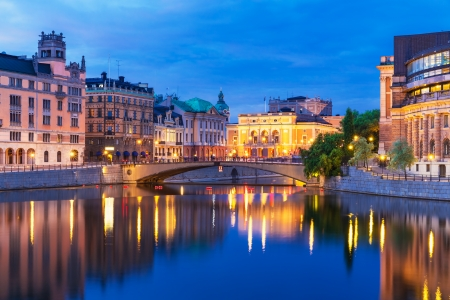 Evening summer scenery of the Old Town  Gamla Stan  architecture in Stockholm, Sweden photo