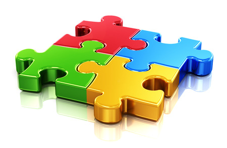 puzzles: Creative business, office, teamwork, partnership and communication corporate concept   four color red, blue, green and yellow puzzle jigsaw pieces isolated on white with reflection effect Stock Photo