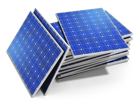 Creative solar power generation technology, alternative energy and environment protection ecology business concept  group of stacked solar battery panels ready for installing and mounting isolated on white  Stock Photo