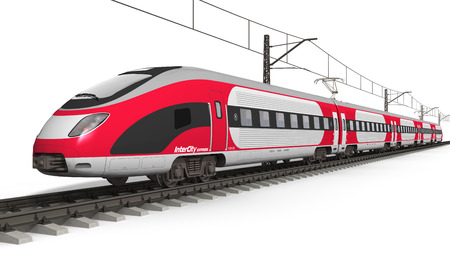 транспорт: Железнодорожного транспорта и железнодорожной отрасли Красный современной концепции высокоскоростных электрических обтекаемой скорого поезда на рельсовый путь на белом фоне