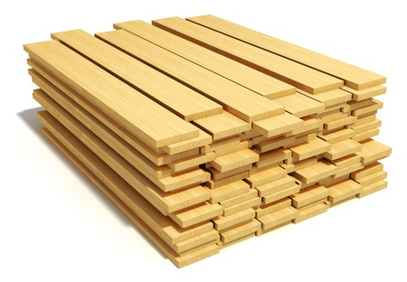 Timberwork, lumber work and woodwork industry concept  stacks of wooden timper planks isolated on white  Фото со стока