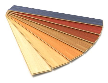 Timberwork, trabajo de madera, carpintería de la industria, rehabilitación de viviendas y el concepto de restauración casa de juego de colores tablones de madera de construcción laminada aislados en blanco