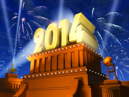 Creative New Year 2014 celebration concept  shiny golden 2014 text on pedestal at night with fireworks in cinema style