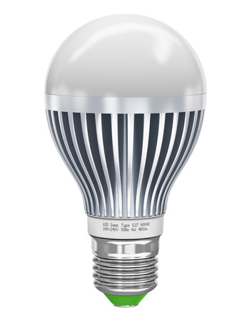 led lighting: Creative power saving and energy conservation industry business ecological concept  metal LED electric lamp isolated on white background  Design is my own and all text labels are fully abstract Stock Photo