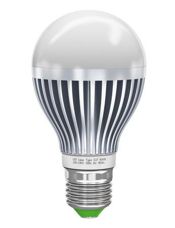 energie: Kreative Energie sparenden und Energie Erhaltung Industrie Business ökologische Konzept des Metalls LED elektrische Lampe auf weißem Hintergrund getrennt Ausführung ist meine eigene und alle Text-Etiketten sind vollständig abstrakte Lizenzfreie Bilder