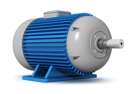 axle: Creative manufacturing and heavy electric industry business concept  big industrial electric motor isolated on white background