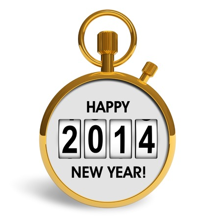 Creative abstract New Year 2014 beginning celebration concept  golden stopwatch with congratulation text isolated on white background photo