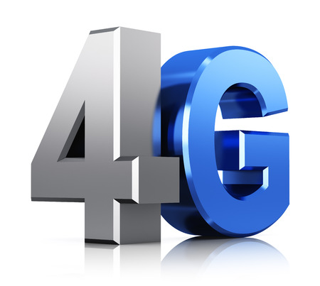 4g: Creative abstract mobile telecommunication cellular high speed data connection business concept  blue metallic 4G LTE wireless communication technology logo, symbol, icon or button isolated on white background with reflection effect