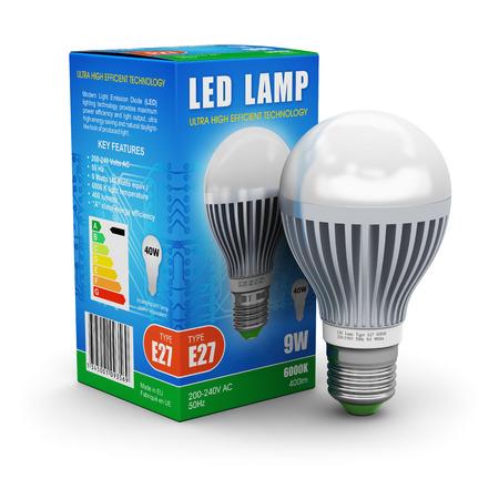 Creatieve energie te besparen en energiebesparing industrie business ecologisch concept metalen LED elektrische lamp met kleur kartonnen retail verpakking doos geïsoleerd op witte achtergrond ontwerp is mijn eigen en alle tekstlabels zijn volledig abstract Stockfoto