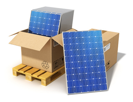 photovoltaic: Creative solar power generation technology, alternative energy and environment protection ecology business concept  group of stacked solar battery panels packed in cardboard box on shipping pallet ready for installing and mounting isolated on white backgr Stock Photo