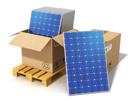 cell: Kreative solaren Stromerzeugung Technologie, alternative Energien und Umweltschutz Ökologie Business-Konzept Gruppe von gestapelten Solarbatterienplatten im Karton auf Palette Versand bereit für die Installation und Montage verpackt auf weißem backgr isoliert Lizenzfreie Bilder