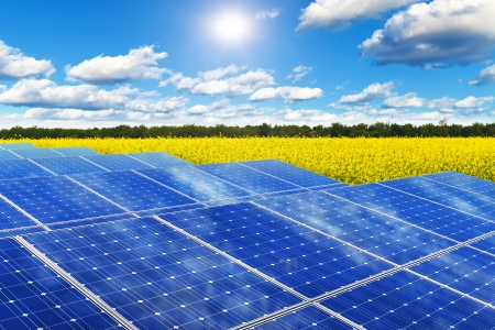 Creative solar power generation technology, alternative energy and environment protection ecology business concept  group of solar battery panels in yellow rural rape field against blue sky with sun light and clouds