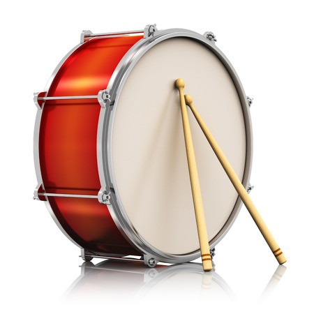 bass drum: Creative abstract musical instrument concept  red drum with pair of drumsticks isolated on white background with reflection effect