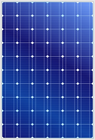 Detailed vector illustration of blue silicon photovoltaic electric solar panel texture Ilustração
