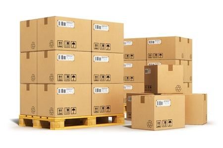 Creative abstract cargo, delivery and transportation logistics storage warehouse industry business concept   photo