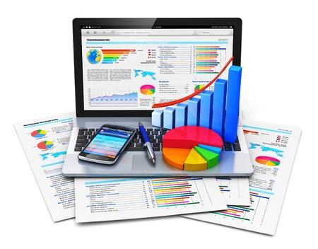 Mobiel kantoor werk, beurs handel, statistieken boekhouding, ontwikkeling en bancaire business concept Stockfoto