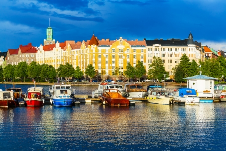 finland: Beautiful summer scenery panorama of the Old Town pier architecture in Helsinki, Finland
