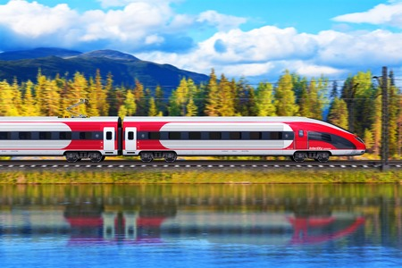 fast train: Creative abstract railroad travel and railway tourism transportation industrial concept