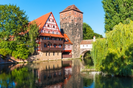Scenic letní pohled na Staroměstské architektura v německém Norimberku Reklamní fotografie