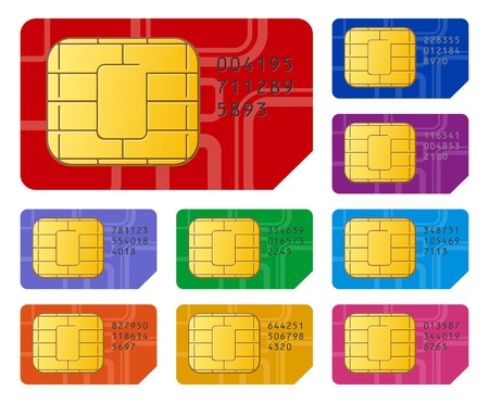 Detailed vector illustration of group of color SIM cards for mobile phone or smartphone isolated on white background Vector