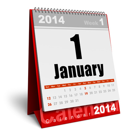Creative abstract New Year 2014 beginning celebration business concept  red office desktop January 2014 month calendar isolated on white background Stock Photo - 23463200