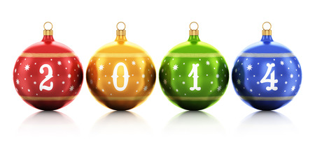 Creative abstract New Year 2014 and Xmas celebration concept  group of color shiny metallic glass Christmas balls with 2014 text numbers and colorful star decoration ornament design isolated on white background with reflection effect Stock Photo