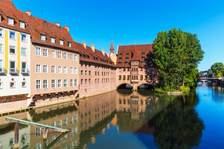 nuremberg: Summer scenic cityscape of the Old Town architecture in Nuremberg, Germany