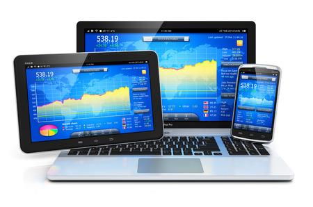desarrollo econ�mico: Cambio de bolsa de comercio, la banca y los negocios financieros de contabilidad concepto moderno notebook laptop metal, tablet PC PC y el tel�fono inteligente con pantalla t�ctil con una capitalizaci�n de mercado de software de aplicaciones aisladas sobre fondo blanco con efecto de reflexi�n
