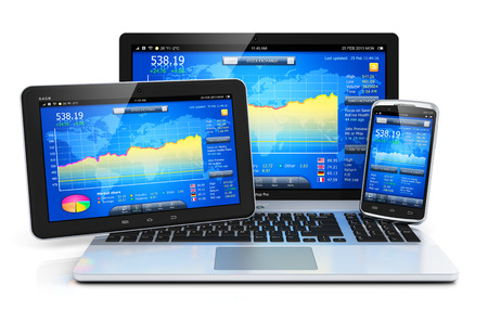 banking information: Stock exchange market trading, banking and financial business accounting concept  modern metal laptop notebook, tablet computer PC and touchscreen smartphone with stock market application software isolated on white background with reflection effect Stock Photo