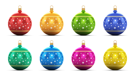 Creative abstract New Year 2014 and Xmas celebration concept  set of color shiny metallic glass Christmas balls with colorful star decoration ornament design isolated on white background with reflection effect photo