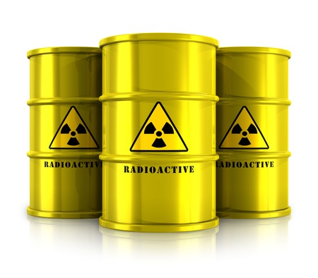 Creative abstract nuclear power fuel manufacturing, disposal and utilization industry concept  group of yellow metal barrels, drums or containers with poison dangerous hazardous radioactive materials isolated on white background with reflection effect photo